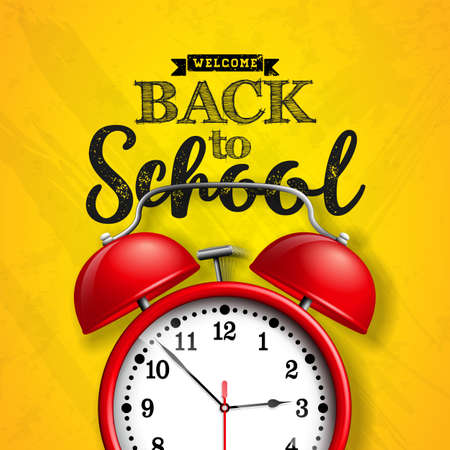 Back to school design with red alarm clock and typography on yellow background. Vector illustration for greeting card, banner, flyer, invitation, brochure or promotional poster. Illustration