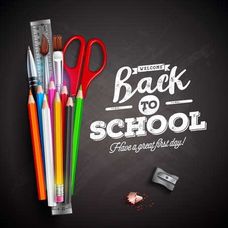 Back to school design with colorful pencil, pen and typography lettering on black chalkboard background. Vector illustration with ruler, scissors, paint brush for greeting card, banner, flyer, invitation, brochure or promotional poster