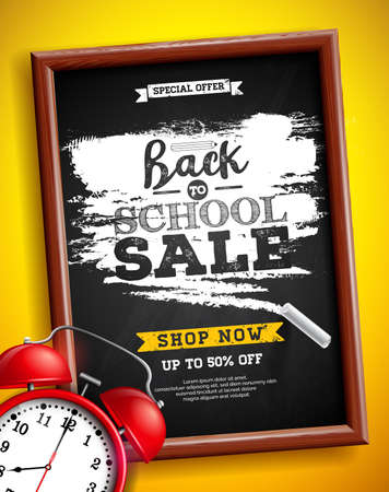 Back to school sale design with alarm clock, chalkboard and typography lettering on yellow background. Vector Illustration with Special Offer Typography Elements for Coupon, Voucher, Banner, Flyer, Promotional Poster or greeting card