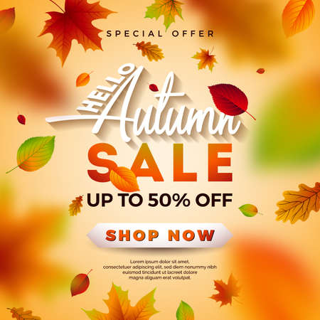 Autumn Sale Design with Falling Leaves and Lettering on Light Background. Autumnal Vector Illustration with Special Offer Typography Elements for Coupon, Voucher, Banner, Flyer, Promotional Poster or Greeting Card Illustration
