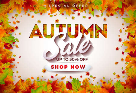Autumn Sale Design with Falling Leaves and Lettering on White Background. Autumnal Vector Illustration with Special Offer Typography Elements for Coupon, Voucher, Banner, Flyer, Promotional Poster or Greeting Card