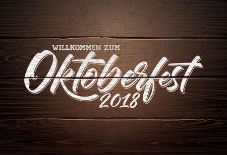 Oktoberfest Illustration with handwritten lettering on vintage wood background. Oktoberfest typography vector design for greeting card, banner, flyer, invitation or promotional poster. Celebration template for traditional German beer festival
