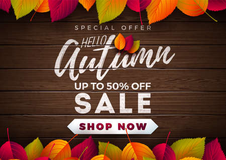 Autumn Sale Design with Falling Leaves and Lettering on Wood Texture Background. Autumnal Vector Illustration with Special Offer Typography Elements for Coupon, Voucher, Banner, Flyer, Promotional Poster or Greeting Card