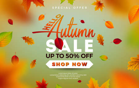 Autumn Sale Design with Falling Leaves and Lettering on Green Background. Autumnal Vector Illustration with Special Offer Typography Elements for Coupon, Voucher, Banner, Flyer, Promotional Poster or Greeting Card