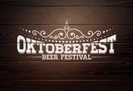 Oktoberfest Illustration with typography lettering on vintage wood background. Oktoberfest vector design for greeting card, banner, flyer, invitation or promotional poster. Celebration template for tr