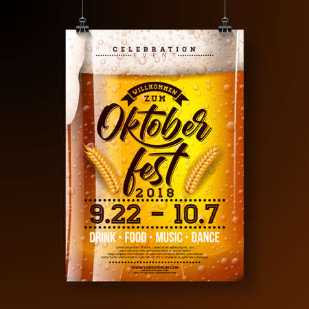 Oktoberfest party poster illustration with fresh lager beer and wheatear on dark background. Vector celebration flyer template with typography lettering for traditional German beer festival