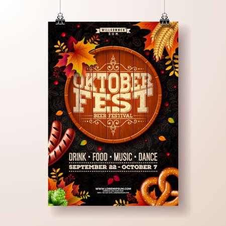 Oktoberfest poster vector illustration with beer barrel, pretzel, sausage and falling autumn leaves on dark doodle pattern background. Celebration flyer template for traditional German beer festival Standard-Bild - 110504953