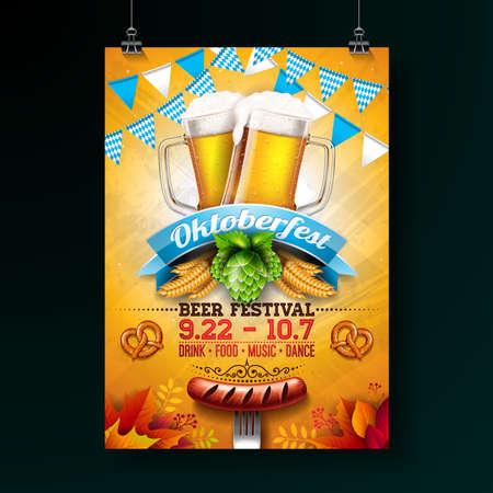 Ilustración de cartel de fiesta Oktoberfest con cerveza lager fresca, pretzel, salchicha y bandera de fiesta azul y blanca sobre fondo amarillo brillante. Plantilla de volante de celebración de vector para el festival de la cerveza tradicional alemana