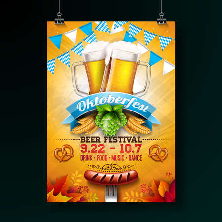 Oktoberfest party poster illustration with fresh lager beer, pretzel, sausage and blue and white party flag on shiny yellow background. Vector celebration flyer template for traditional German beer festival