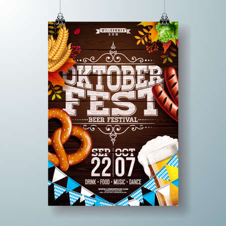 Oktoberfest party poster vector illustration with typography letter, fresh beer, pretzel, sausage and falling autumn leaves on wood texture background. Celebration flyer template for traditional German beer festival