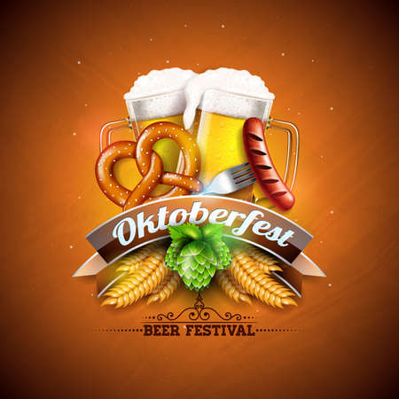 Oktoberfest Banner Illustration with Fresh Beer, Wheat and Hop on Shiny Yellow Background. Vector Traditional German Beer Festival Design Template with Bavaria Party Flag, and Autum Leaves for Greeting Card, Celebration Flyer or Promotional Poster Vektoros illusztráció