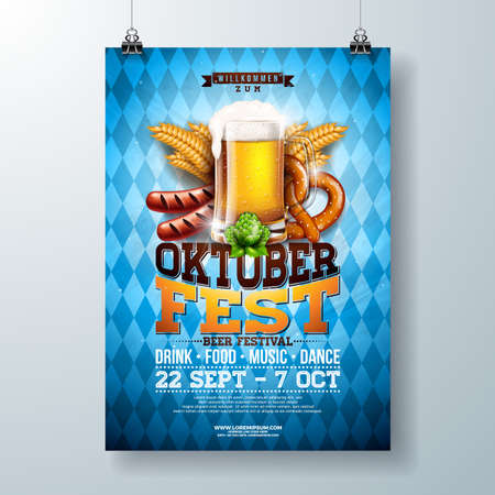Oktoberfest party poster illustration with fresh lager beer, pretzel, sausage and wheat on blue and white Bavaria flag background. Vector celebration flyer template for traditional German beer festival