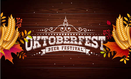 Oktoberfest Banner Illustration with Typography Lettering on Vintage Wood Background. Vector Traditional German Beer Festival Design Template with Wheat and Autumn Leaves for Greeting Card, Invitation, Celebration Flyer or Promotional Poster