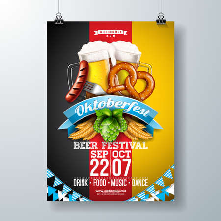 Oktoberfest party poster illustration with fresh lager beer, pretzel, sausage and wheat on German national flag background. Vector celebration flyer template for traditional German beer festival Illustration
