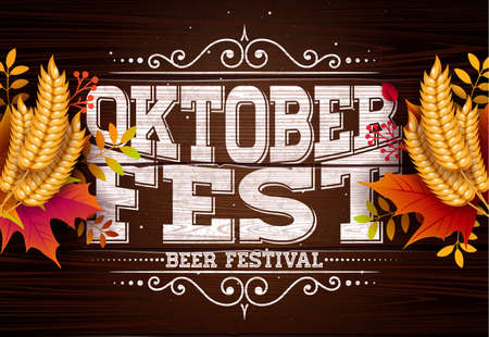 Oktoberfest Banner Illustration with Typography Lettering on Vintage Wood Background. Vector Traditional German Beer Festival Design Template with Wheat and Autumn Leaves for Greeting Card, Invitation, Celebration Flyer or Promotional Poster Vektoros illusztráció