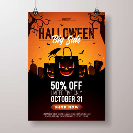 Halloween Sale vector flyer illustration with scary faced shopping bag, crow, bats and cemetery on orange background. Holiday design with typography lettering for offer, coupon, celebration banner, voucher or promotional poster
