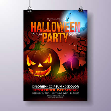 Halloween Party flyer vector illustration with scary faced pumpkin on mysterious moon background. Holiday design template with cemetery and flying bats for party invitation, greeting card, banner or celebration poster Stock Vector - 110266156
