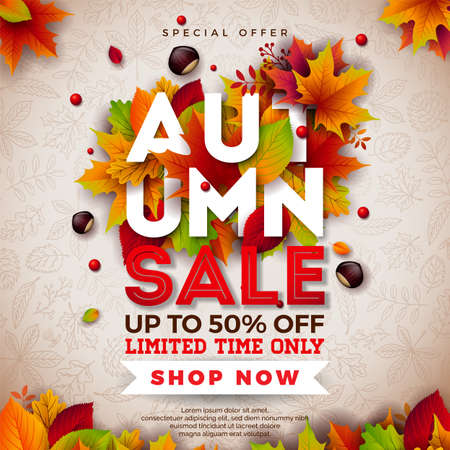 Autumn Sale Design with Falling Leaves, Chestnut and 3d Lettering on Doodle Pattern Background. Autumnal Vector Illustration with Special Offer Typography Elements for Coupon, Voucher, Banner, Flyer, Promotional Poster or Greeting Card Illustration