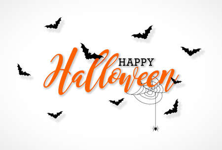 Happy Halloween vector illustration with typography lettering, flying bats and spider on white background. Holiday design for greeting card, banner, celebration poster, party invitation