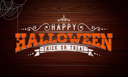 Happy Halloween vector illustration with typography lettering, spider and cobweb on vintage wood background. Holiday design for greeting card, banner, celebration poster, party invitation
