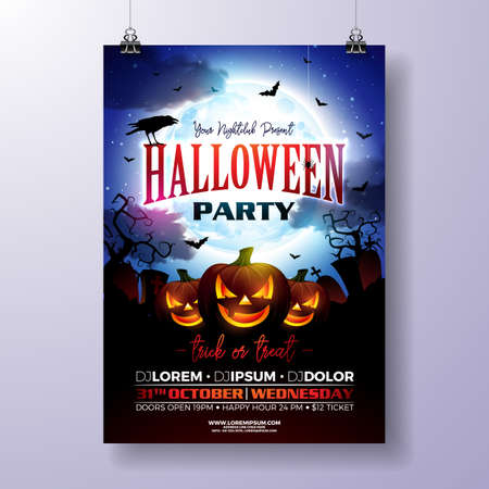 Halloween Party flyer vector illustration with scary faced pumpkin on mysterious moon background. Holiday design template with crow, cemetery and flying bats for party invitation, greeting card, banner or celebration poster