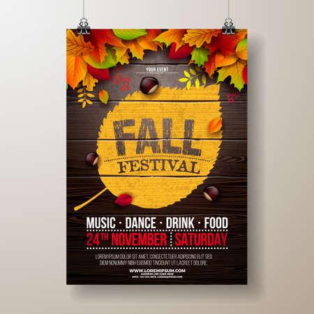 Ilustración de volante de fiesta de otoño con hojas caídas y diseño de tipografía sobre fondo de madera vintage. Diseño de festival de otoño otoñal de vector para invitación o cartel de celebración navideña