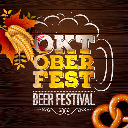 Oktoberfest Banner Illustration with Fresh Beer in Typography Lettering on Vintage Wood Background. Vector Traditional German Beer Festival Design with Wheat, Pretzel and Autumn Leaves for Greeting Card, Invitation, Celebration Flyer or Poster Illustration