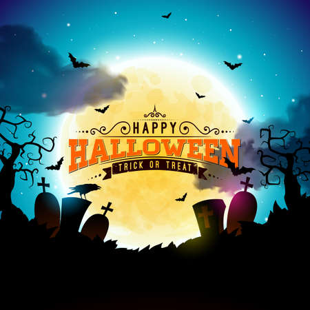 Happy Halloween banner illustration with moon, flying bats, coffin and zombie hand on blue night sky background. Vector Holiday design template with typography lettering and cemetery for greeting card, flyer, celebration poster or party invitation Vettoriali