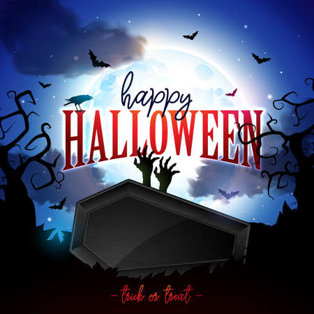 Happy Halloween banner illustration with moon, flying bats, coffin and zombie hand on blue night sky background. Vector Holiday design template with typography lettering and cemetery for greeting card, flyer, celebration poster or party invitation