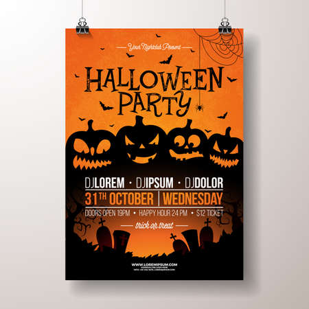 Halloween Party flyer vector illustration with scary faced pumpkins on orange background. Holiday design template with cemetery and flying bats for party invitation, greeting card, banner or celebration poster