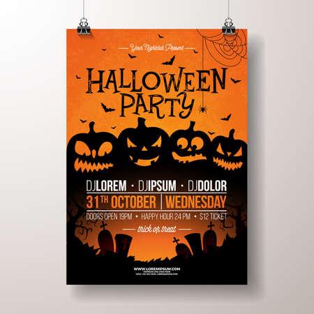 Halloween-partijvlieger vectorillustratie met enge onder ogen gezien pompoenen op oranje achtergrond. Vakantie ontwerpsjabloon met begraafplaats en vliegende vleermuizen voor uitnodiging voor feest, wenskaart, spandoek of feest poster Stockfoto - 107950065