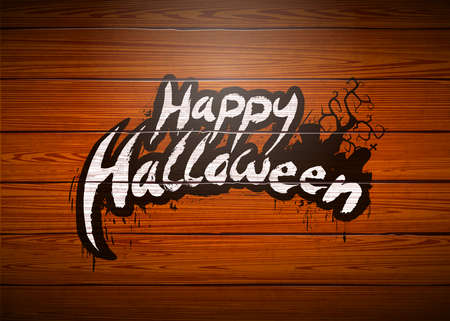 Happy Halloween vector illustration with typography lettering and cemetery on vintage wood background. Holiday design for greeting card, banner, celebration poster, party invitation