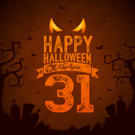 Happy Halloween banner illustration with flying bats, cemetery and spider on dark background. Vector Holiday design template with typography lettering for greeting card, flyer, celebration poster or party invitation