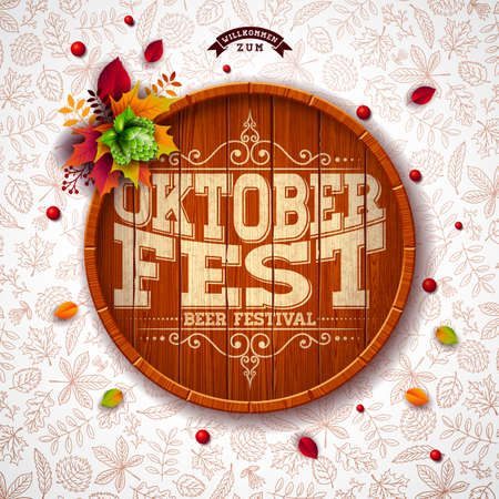 Oktoberfest illustration with typography on beer barrel. Hop and falling autumn leaves on light doodle pattern background. Holiday vector design for greeting card, banner or flyer. Celebration template for traditional German beer festival