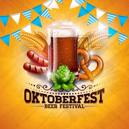 Oktoberfest Banner Illustration with Fresh Beer, Wheat and Hop on Shiny Yellow Background. Vector Traditional German Beer Festival Design Template with Bavaria Party Flag, and Autum Leaves for Greeting Card, Celebration Flyer or Promotional Poster.
