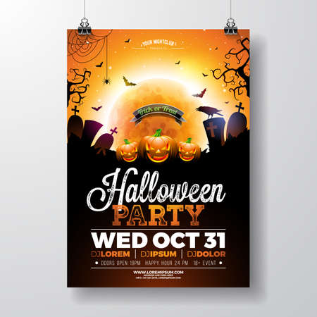 Halloween Party flyer vector illustration with scary faced pumpkin on mysterious moon background. Holiday design template with crow, spiders, cemetery and flying bats for party invitation, greeting card, banner or celebration poster