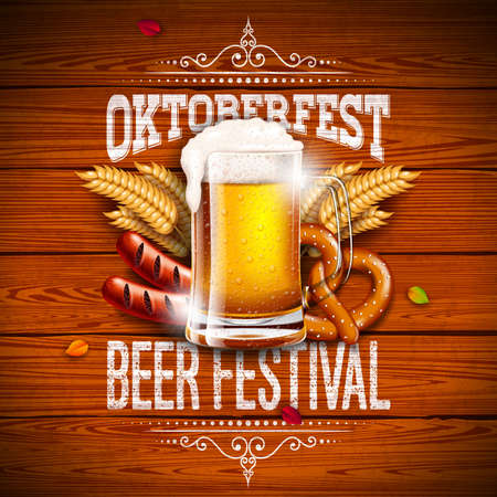 Oktoberfest Banner Illustration with Typography Lettering and Fresh Beer on Vintage Wood Background. Vector Traditional German Beer Festival Design with Wheat, Pretzel, Sausage and Autumn Leaves for Greeting Card, Invitation, Flyer or Poster