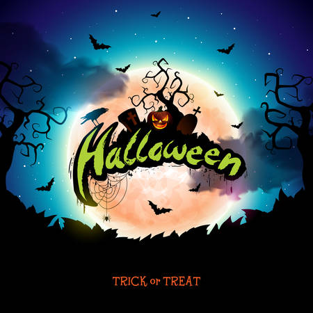 Happy Halloween banner illustration with moon, flying bats and pumpkin hand on blue night sky background. Vector Holiday design template with typography lettering and cemetery for greeting card, flyer, celebration poster or party invitation Illustration