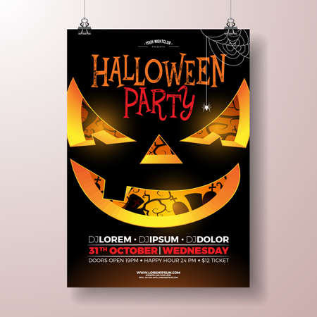 Halloween Party flyer vector illustration with scary face on black background. Holiday design template with cemetery for party invitation, greeting card, banner or celebration poster.