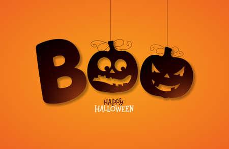Boo, diseño feliz Halloween con letras de tipografía sobre fondo naranja. Vector plantilla de diseño de vacaciones para tarjetas de felicitación, folletos, carteles de celebración o invitaciones a fiestas Ilustración de vector