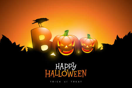Boo, Happy Halloween design with typography lettering, moon, flying bats and cemetery on orange background. Vector Holiday design template for greeting card, flyer, celebration poster or party invitation Ilustração