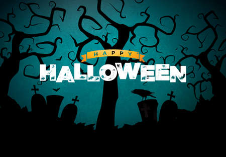 Happy Halloween banner illustration with cemetery and crow on blue night sky background. Vector Holiday design template with typography lettering for greeting card, flyer, celebration poster or party invitation