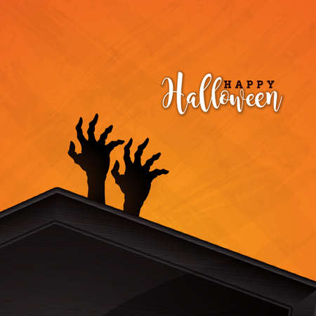 Happy Halloween banner illustration with coffin and zombie hand on orange background. Vector Holiday design template with typography lettering for greeting card, flyer, celebration poster or party invitation