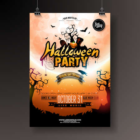 Halloween Party flyer vector illustration with pumpkin and bats on mysterious moon background. Holiday design template with spiders and cemetery for party invitation, greeting card, banner or celebration poster Ilustracja