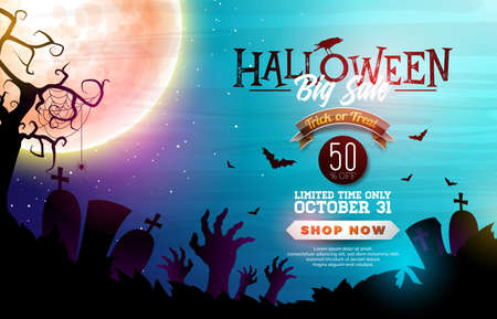 Halloween Sale banner illustration with moon, crow and flying bats on blue night sky background. Vector Holiday design template with typography lettering, cemetery and zombie hands for offer, coupon, celebration banner, voucher or promotional poster