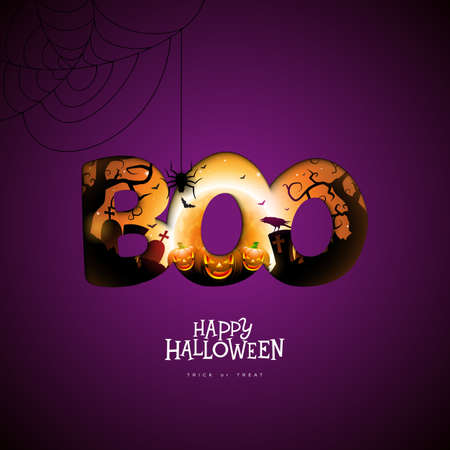 Boo, Happy Halloween design with pumpkin, moon and flying bats in typography lettering on dark purple background. Vector Holiday design template with cemetery for greeting card, flyer, celebration poster or party invitation