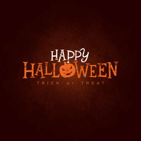 Happy Halloween banner illustration with typography lettering on dark background. Vector Holiday design template for greeting card, flyer, celebration poster or party invitation