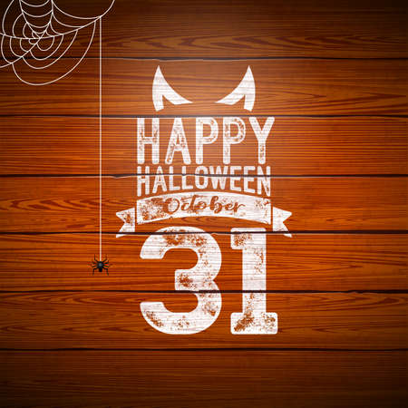 Happy Halloween banner illustration with flying bats, cemetery and spider on vintage wood background. Vector Holiday design template with typography lettering for greeting card, flyer, celebration poster or party invitation