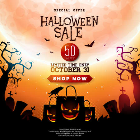 Halloween Sale illustration with scary faced shopping bag, crow, bats and cemetery on orange mysterious moon background. Vector holiday design with typography lettering for offer, coupon, celebration banner, voucher or promotional poster Illustration