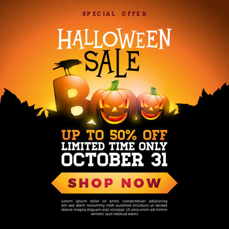 Boo, Halloween Sale banner illustration with scary faced pumpkin and crow on orange background. Vector Holiday design template with typography lettering for offer, coupon, celebration banner, voucher or promotional poster